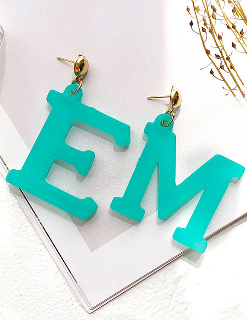 Fashion Light Green Letter Me Shape Decorated Earrings