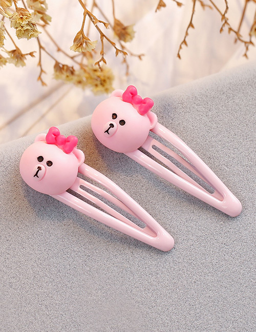 Fashion Pink Bear Shape Decorated Hair Clip (2 Pcs )