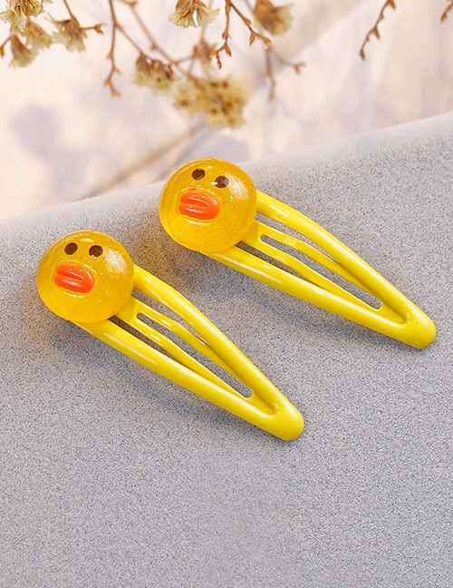 Fashion Yellow Duck Shape Decorated Hair Clip (2 Pcs )