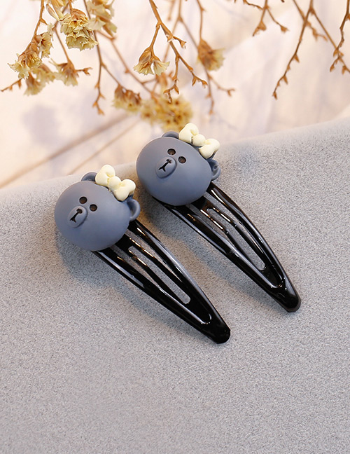 Fashion Gray Bear Shape Decorated Hair Clip (2 Pcs )