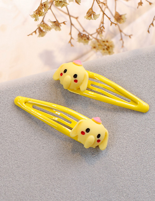 Fashion Yellow Elephant Shape Decorated Hair Clip (2 Pcs )