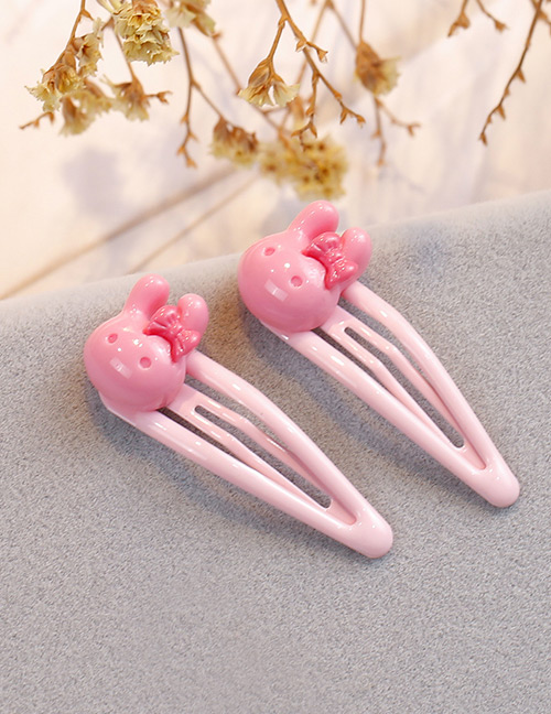 Fashion Pink Rabbit Shape Decorated Hair Clip (2 Pcs )