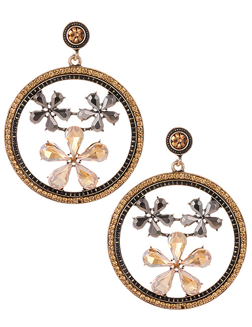 Elegant Champagne Flowers Decorated Round Shape Earrings