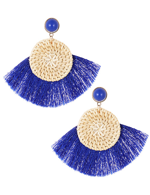 Elegant Sapphire Blue Round Shape Design Tassel Earrings