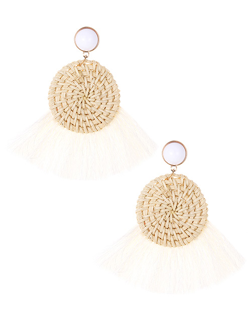 Elegant Beige Round Shape Design Tassel Earrings