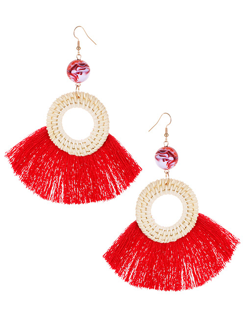 Elegant Red Circular Ring Decorated Tassel Earrings