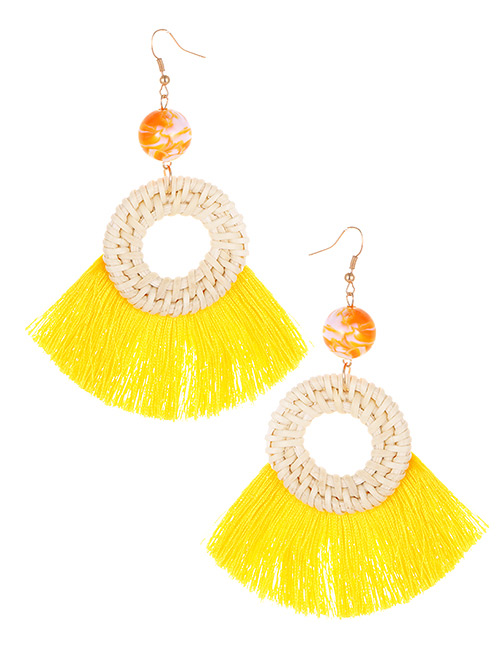 Elegant Yellow Circular Ring Decorated Tassel Earrings