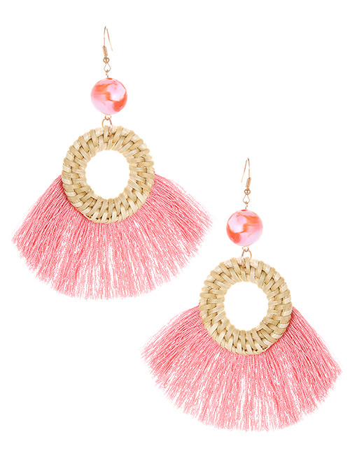 Elegant Pink Circular Ring Decorated Tassel Earrings
