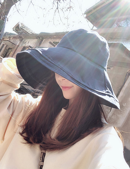 Fashion Navy Pure Color Decorated Fisherman Hat