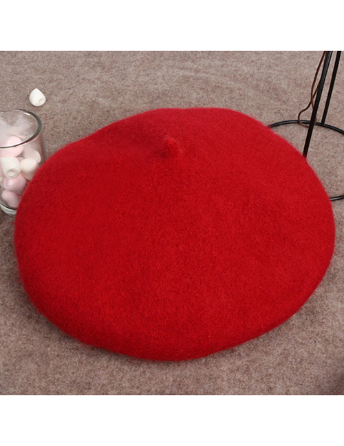 Fashion Red Round Shape Design Pure Color Hat