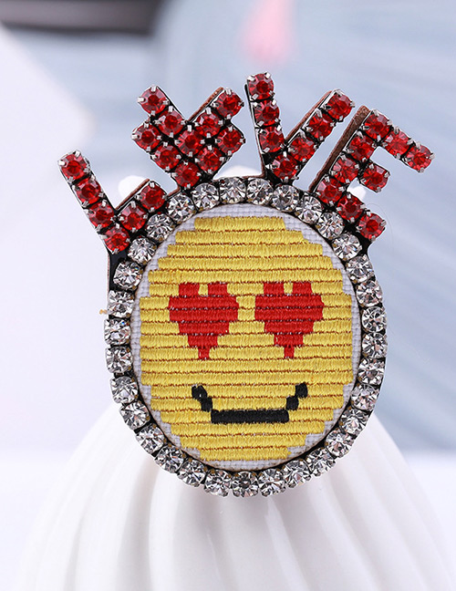 Fashion Red+yellow Simle Face&heart Pattern Decorated Brooch