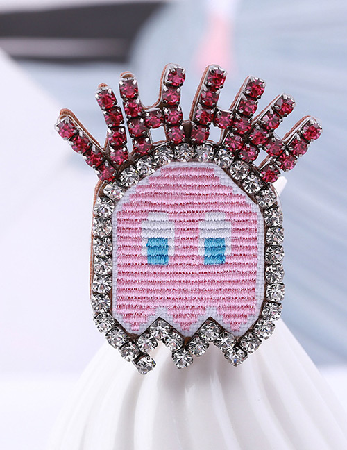 Fashion Pink Letter Shape Decorated Brooch
