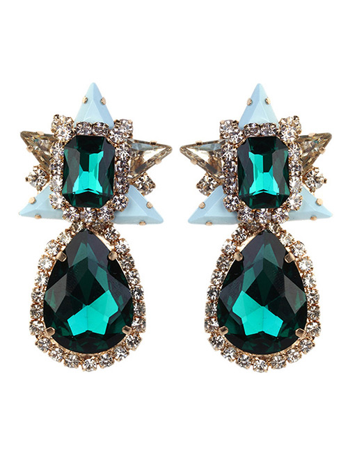 Vintage Dark Green Water Drop Shape Decorated Earrings