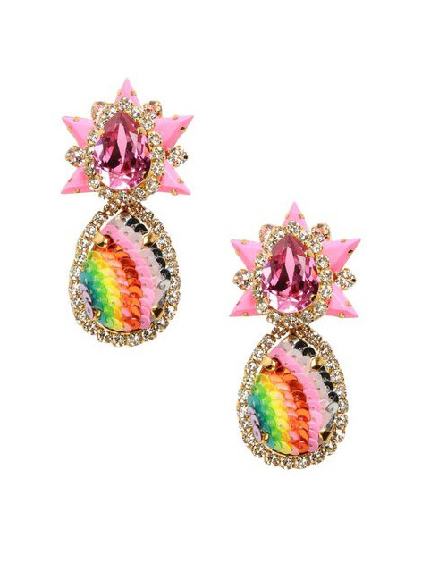 Vintage Multi-color Water Drop Shape Decorated Earrings
