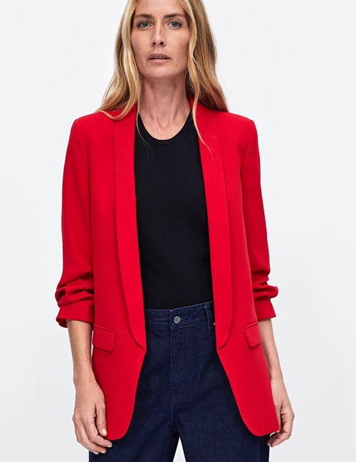 Fashion Red Pure Color Design Long Sleeves Casual Coat