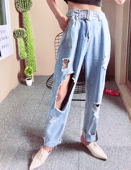 Fashion Blue Hole Shape Design Pure Color Jeans