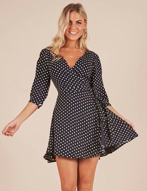 Fashion Black Dots Pattern Decorated V Neckline Dress