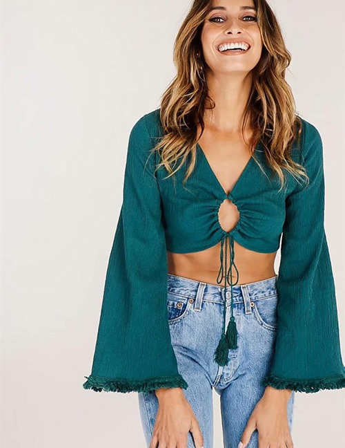 Fashion Green Tassel Decorated Pure Color Blouse