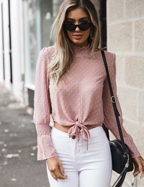 Fashion Pink Pure Color Decorated Long Sleeves Blouse