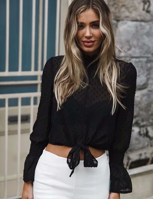 Fashion Black Pure Color Decorated Long Sleeves Blouse