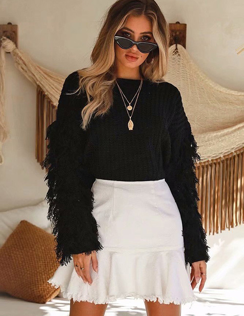 Fashion Black Tassel Decorated Pure Color Knitted Sweater