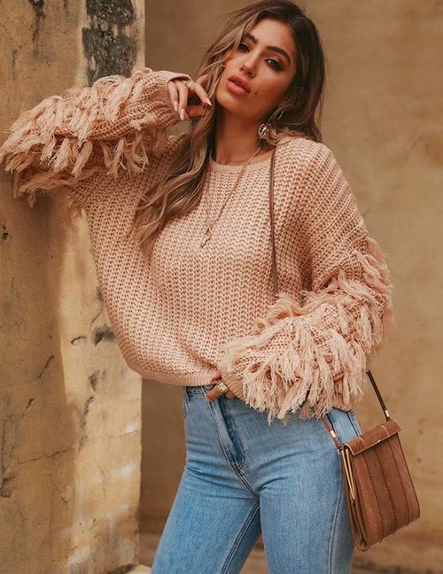 Fashion Khaki Tassel Decorated Pure Color Knitted Sweater