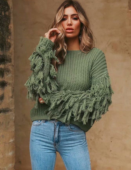 Fashion Green Tassel Decorated Pure Color Knitted Sweater