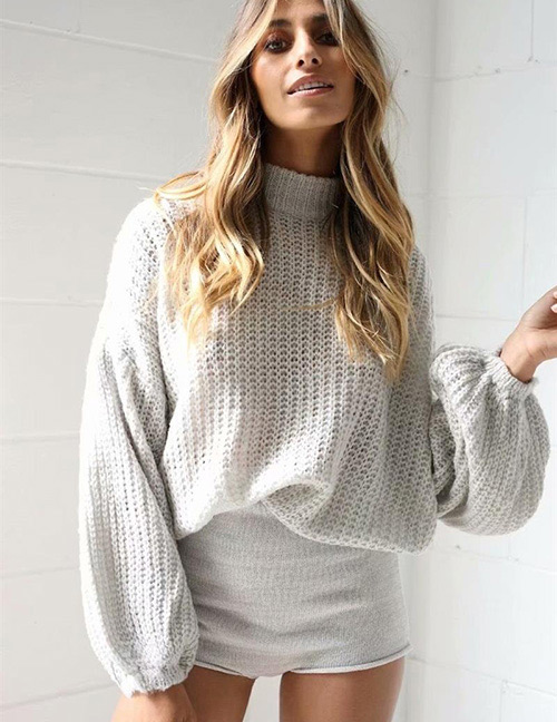 Fashion Gray Puff Sleeves Design Pure Color Sweater