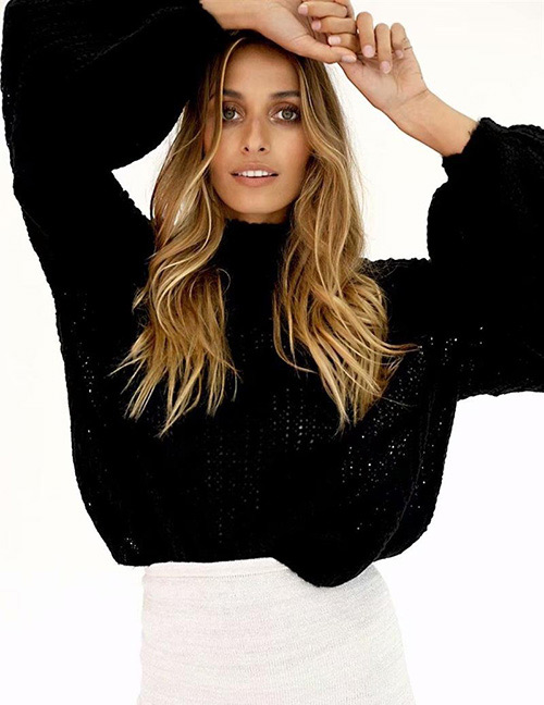 Fashion Black Puff Sleeves Design Pure Color Sweater