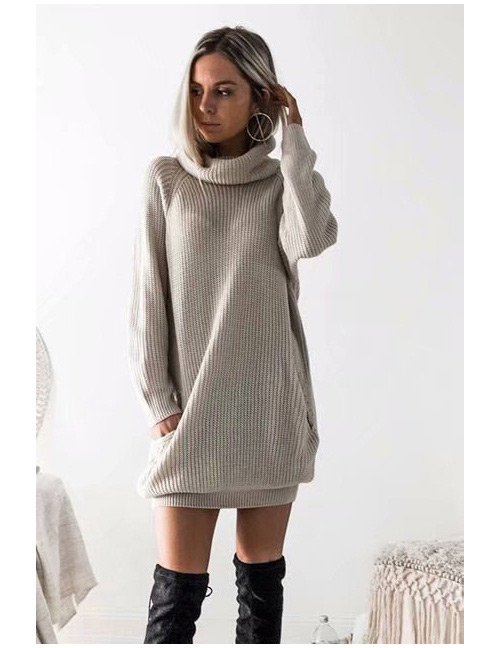 Fashion Gray Pure Color Decorated Long Knitted Sweater