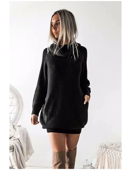 Fashion Black Pure Color Decorated Long Knitted Sweater