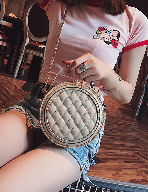 Elegant Khaki Grid Pattern Design Round Shape Bag