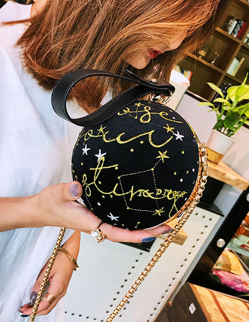 Elegant Black Letter Pattern Design Round Shape Bag