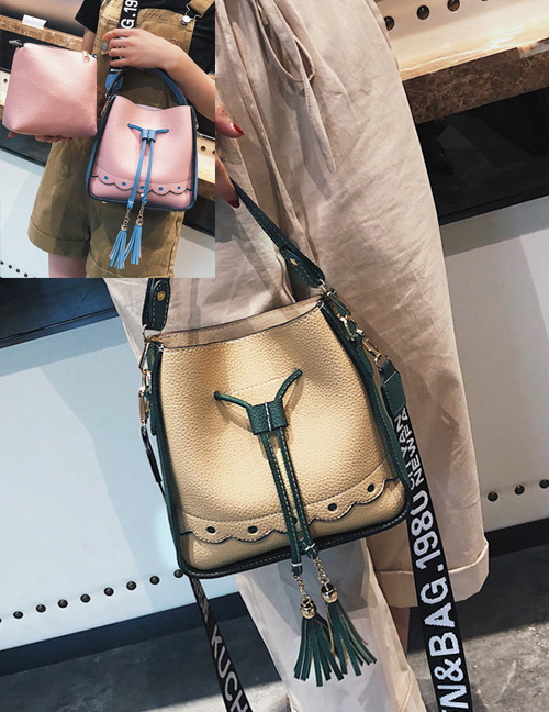 Elegant Khaki Tassel Decorated Square Shape Bag(2pcs)