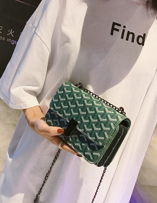 Elegant Green Letter Pattern Decorated Shoulder Bag