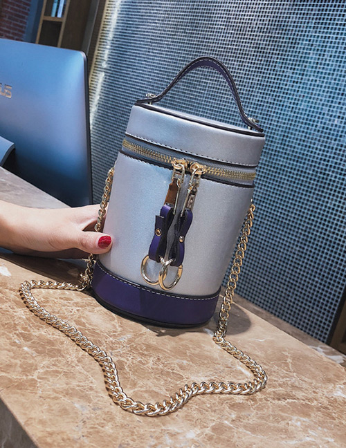 Elegant Silver Color Double Zippers Decorated Bucket Shape Bag