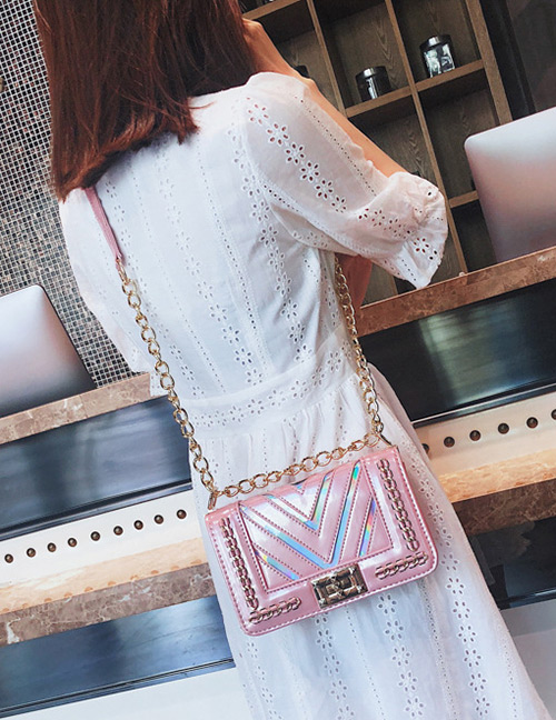 Elegant Pink V Shape Pattern Design Shoulder Bag