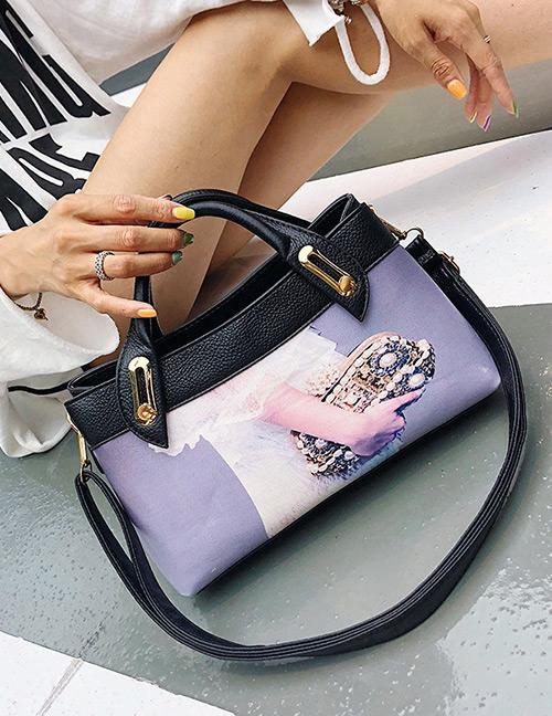 Elegant White+purple Hand Pattern Decorated Shoulder Bag