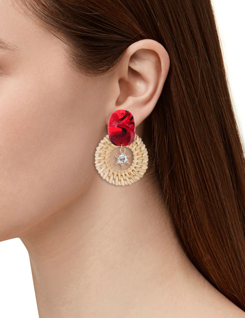 Fashion Red Diamond Decorated Round Shape Earrings