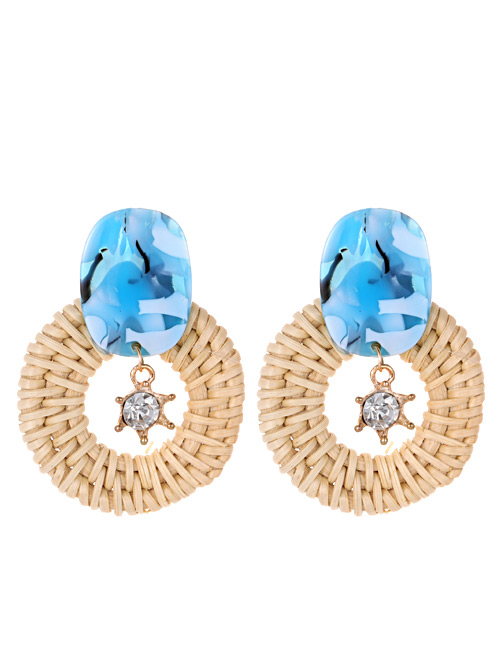 Fashion Blue Diamond Decorated Round Shape Earrings
