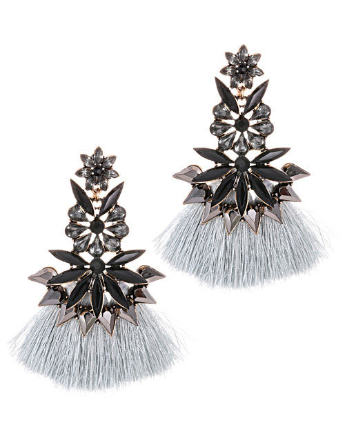 Fashion Gray Tassel Decorated Flower Shape Earrings