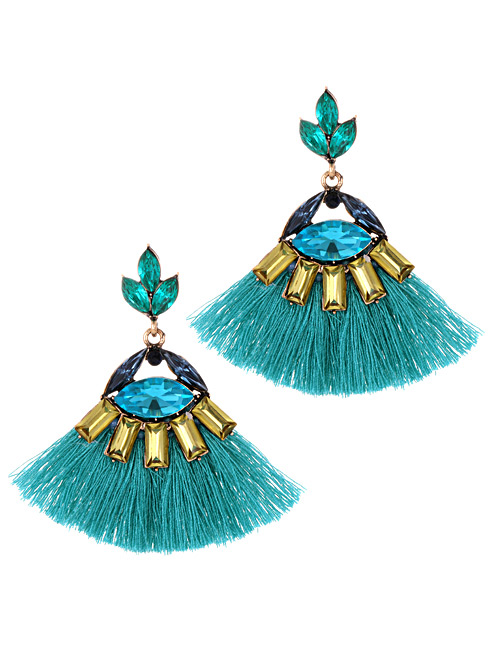 Fashion Pale Green Sector Shape Design Tassel Earrings