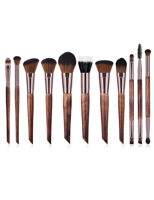 Trendy Coffee Flame Shape Design Cosmetic Brush(11pcs)