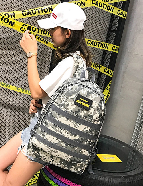 Fashion Gray Camouflage Pattern Decorated Backpack