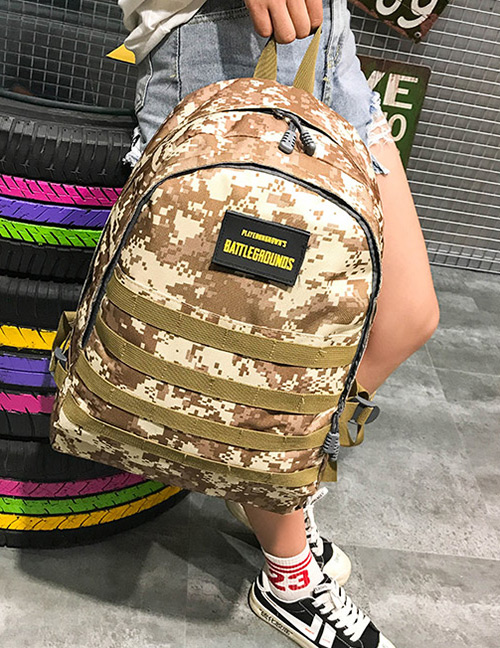 Fashion Olive+green Camouflage Pattern Decorated Backpack