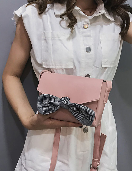 Elegant Pink Bowknot Decorated Pure Color Shoulder Bag