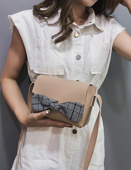 Elegant Khaki Bowknot Decorated Pure Color Shoulder Bag