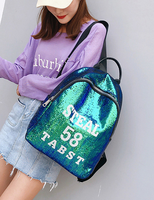 Trendy Green Sequins&letter Pattern Decorated Backpack
