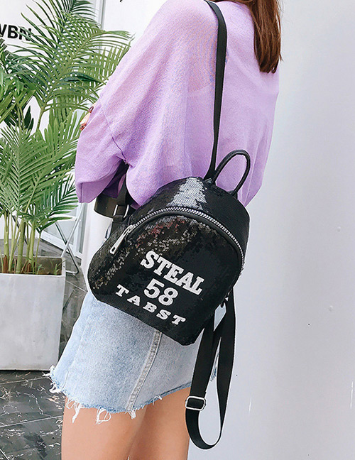 Trendy Black Sequins&letter Pattern Decorated Backpack