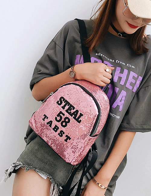 Trendy Pink Sequins&letter Pattern Decorated Backpack